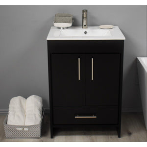 "Pacific 24"" Modern Bathroom Vanity with Integrated Ceramic Top and Brushed Nickel Round Handles MTD Vanities Vanities Black"