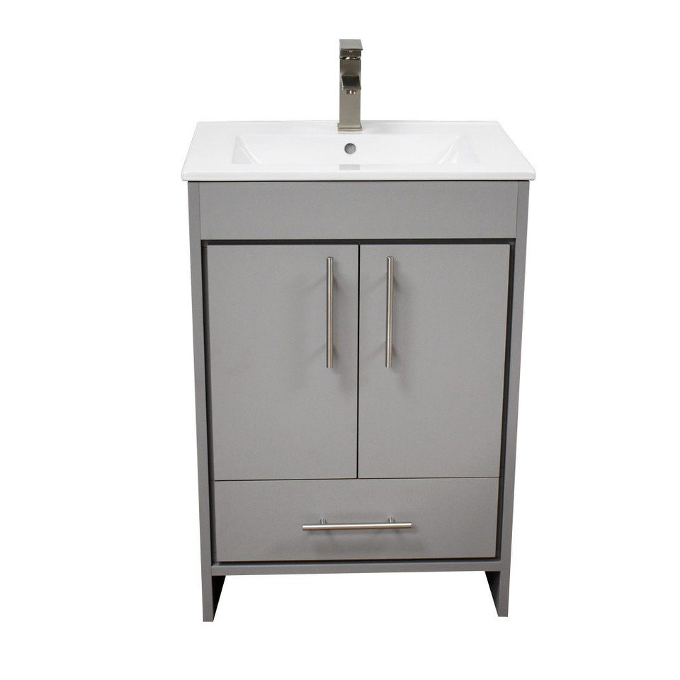 "Pacific 24"" Modern Bathroom Vanity with Integrated Ceramic Top and Brushed Nickel Round Handles MTD Vanities Vanities Grey"
