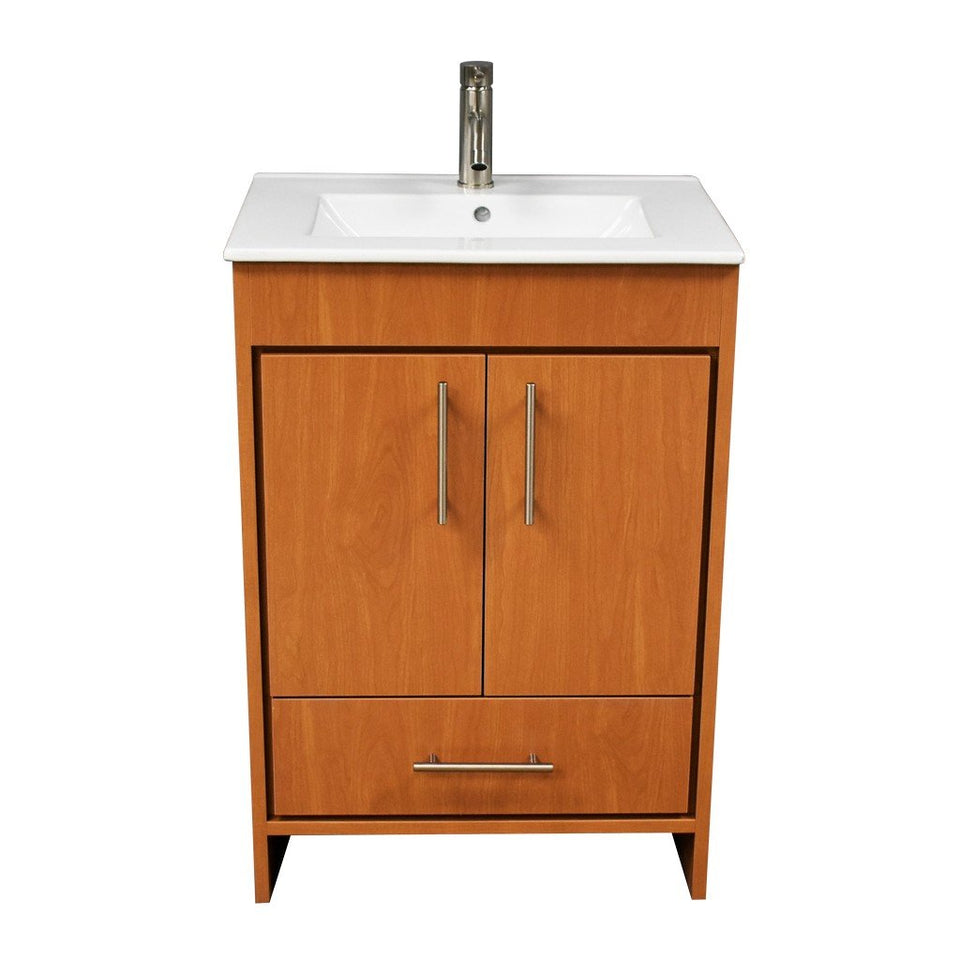 "Pacific 24"" Modern Bathroom Vanity with Integrated Ceramic Top and Brushed Nickel Round Handles MTD Vanities Vanities Honey Maple"