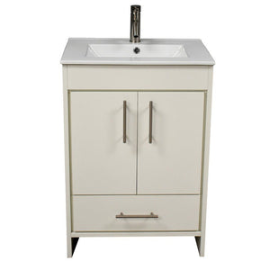 "Pacific 24"" Modern Bathroom Vanity with Integrated Ceramic Top and Brushed Nickel Round Handles MTD Vanities Vanities Soft White"