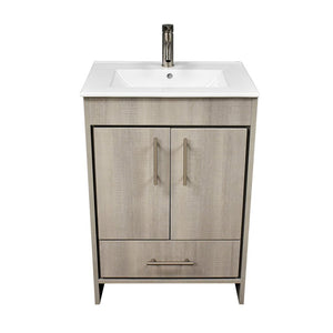 "Pacific 24"" Modern Bathroom Vanity with Integrated Ceramic Top and Brushed Nickel Round Handles MTD Vanities Vanities Weathered Grey"