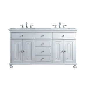 "Stufurhome Abigail Embellished 60"" Double Sink Bathroom Vanity Stufurhome 60 inch Double Vanity White"