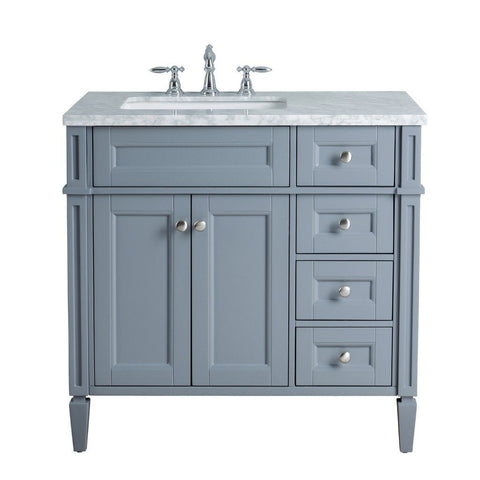"Stufurhome Anastasia French 36"" Single Sink Bathroom Vanity Stufurhome 36 inch Single Vanity Gray"