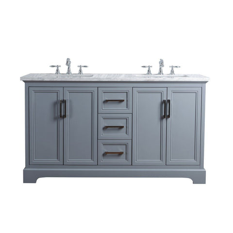 "Stufurhome Ariane 60"" Double Vanity Cabinet Dual Bathroom Sinks Stufurhome 60 inch Double Vanity Slate Gray"