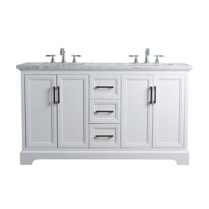 "Stufurhome Ariane 60"" Double Vanity Cabinet Dual Bathroom Sinks Stufurhome 60 inch Double Vanity White"