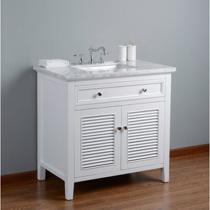 "Stufurhome Genevieve 36"" Single Vanity Cabinet with Shutter Double Doors Single Bathroom Sink Stufurhome 36 inch Single Vanity"