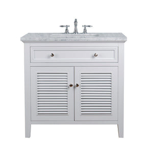 "Stufurhome Genevieve 36"" Single Vanity Cabinet with Shutter Double Doors Single Bathroom Sink Stufurhome 36 inch Single Vanity White"
