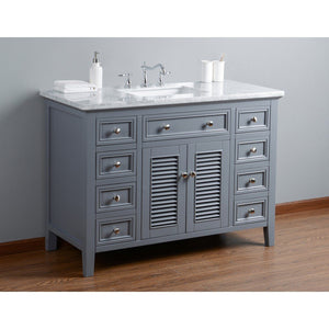 "Stufurhome Genevieve 48"" Single Vanity Cabinet with Shutter Double Doors Single Bathroom Sink Stufurhome 48 inch Single Vanity"