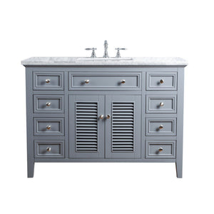 "Stufurhome Genevieve 48"" Single Vanity Cabinet with Shutter Double Doors Single Bathroom Sink Stufurhome 48 inch Single Vanity Slate Gray"