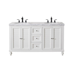 "Stufurhome Kent 60"" Double Sink Bathroom Vanity with Drains and Faucets in Matte Black Stufurhome 60 inch Double Vanity White"