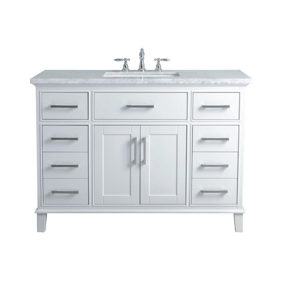 "Stufurhome Leigh 48"" Single Sink Bathroom Vanity Stufurhome 48 inch Single Vanity White"