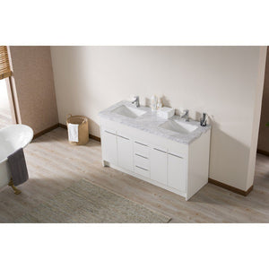 "Stufurhome Lotus 60"" Double Sink Bathroom Vanity with Drains and Faucets in Chrome Stufurhome 60 inch Double Vanity"