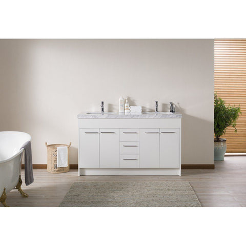 "Stufurhome Lotus 60"" Double Sink Bathroom Vanity with Drains and Faucets in Chrome Stufurhome 60 inch Double Vanity White"
