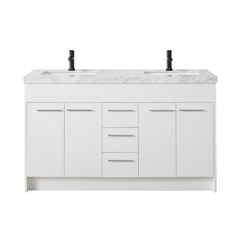 "Stufurhome Lotus 60"" Double Sink Bathroom Vanity with Drains and Faucets in Matte Black Stufurhome 60 inch Double Vanity White"