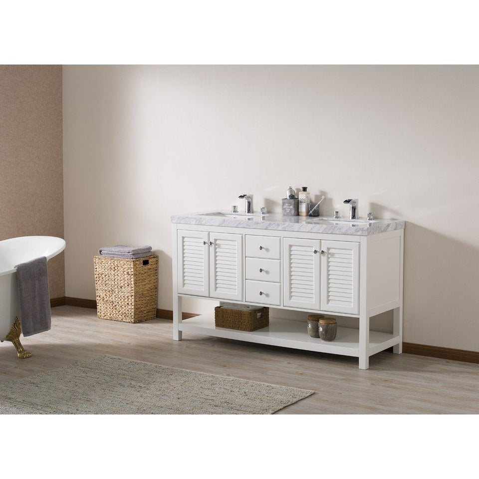 "Stufurhome Luthor 60"" Double Sink Bathroom Vanity with Drains and Faucets in Chrome Stufurhome 60 inch Double Vanity"
