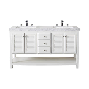 "Stufurhome Luthor 60"" Double Sink Bathroom Vanity with Drains and Faucets in Chrome Stufurhome 60 inch Double Vanity White"