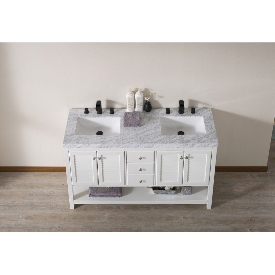 "Stufurhome Luthor 60"" Double Sink Bathroom Vanity with Drains and Faucets in Matte Black Stufurhome 60 inch Double Vanity"