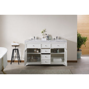 "Stufurhome Magnolia 60"" Double Sink Bathroom Vanity with Drains and Faucets in Chrome Stufurhome 60 inch Double Vanity"