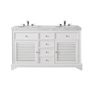 "Stufurhome Magnolia 60"" Double Sink Bathroom Vanity with Drains and Faucets in Chrome Stufurhome 60 inch Double Vanity White"