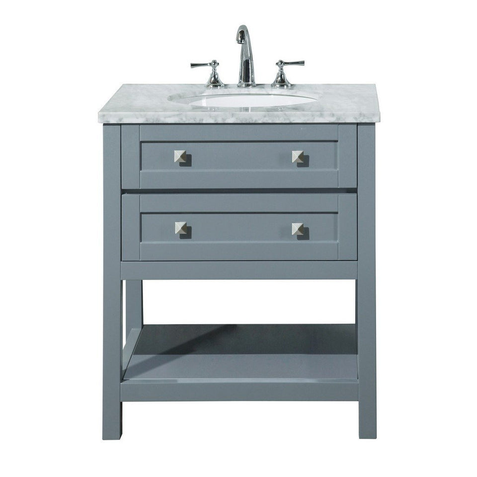"Stufurhome Marla 30"" Single Sink Bathroom Vanity Stufurhome 30 inch Single Vanity Gray"