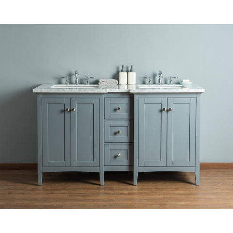 "Stufurhome Tower Modern 60"" Double Sink Bathroom Vanity Stufurhome 60 inch Double Vanity Gray"