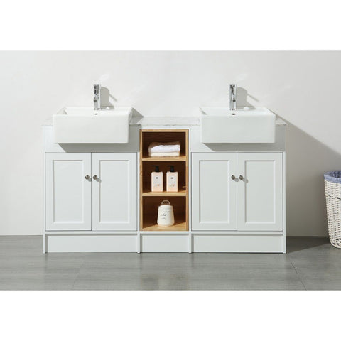 "Stufurhome Zevan 59"" Double Sink Bathroom Vanity Stufurhome 60 inch Double Vanity White"