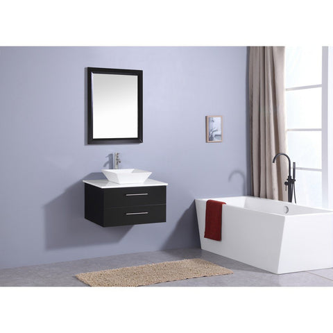 "Totti Wave 24"" Modern Bathroom Vanity with White Glassos Countertop and Porcelain Vessel Sink Eviva Vanities Espresso"
