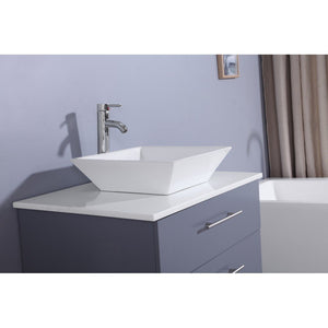 "Totti Wave 24"" Modern Bathroom Vanity with White Glassos Countertop and Porcelain Vessel Sink Eviva Vanities"