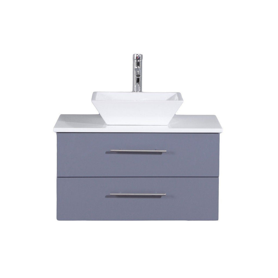 "Totti Wave 24"" Modern Bathroom Vanity with White Glassos Countertop and Porcelain Vessel Sink Eviva Vanities Gray"
