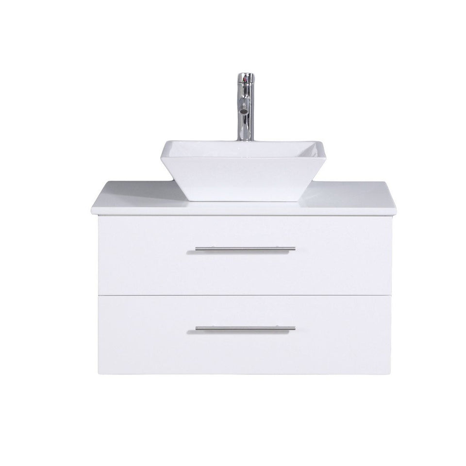 "Totti Wave 24"" Modern Bathroom Vanity with White Glassos Countertop and Porcelain Vessel Sink Eviva Vanities White"