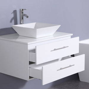 "Totti Wave 30"" Modern Bathroom Vanity with White Glassos Countertop and Porcelain Vessel Sink Eviva Vanities"