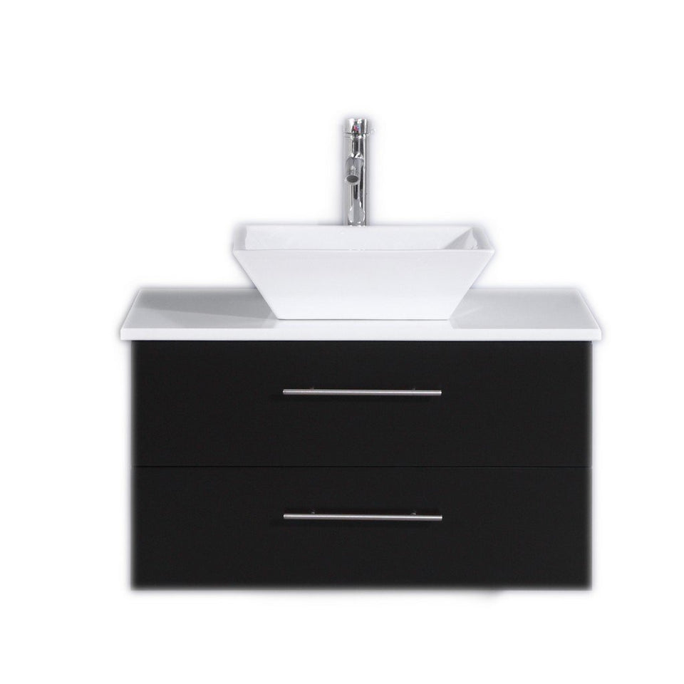 "Totti Wave 30"" Modern Bathroom Vanity with White Glassos Countertop and Porcelain Vessel Sink Eviva Vanities Espresso"