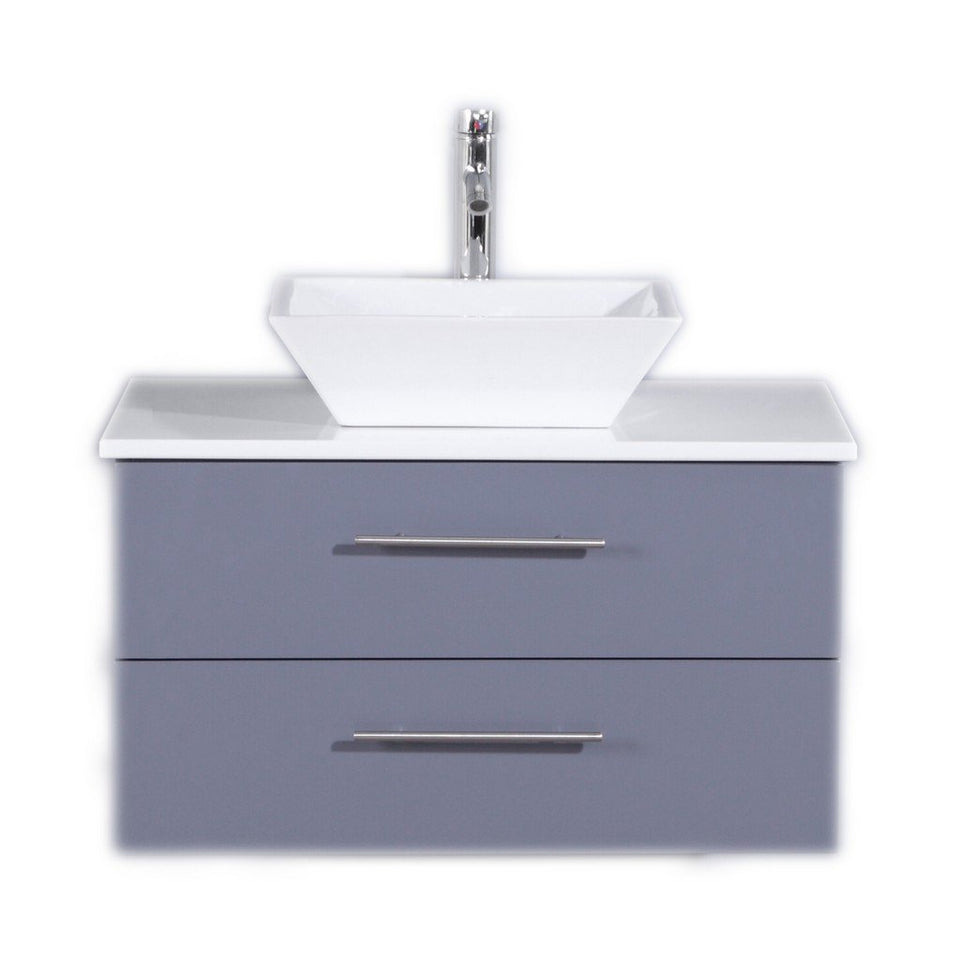 "Totti Wave 30"" Modern Bathroom Vanity with White Glassos Countertop and Porcelain Vessel Sink Eviva Vanities Gray"
