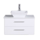 "Totti Wave 30"" Modern Bathroom Vanity with White Glassos Countertop and Porcelain Vessel Sink Eviva Vanities White"