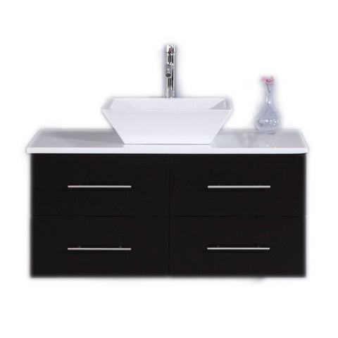 "Totti Wave 36"" Modern Bathroom Vanity with White Glassos Countertop and Porcelain Vessel Sink Eviva Vanities Espresso"