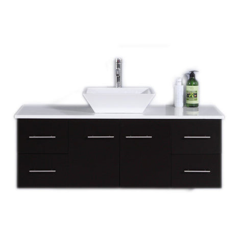 "Totti Wave 48"" Modern Bathroom Vanity with White Glassos Countertop and Porcelain Vessel Sink Eviva Vanities Espresso"