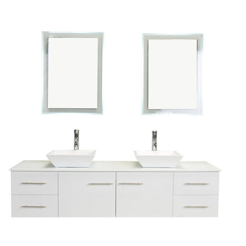 "Totti Wave 72"" Modern Double Sink Bathroom Vanity with White Glassos Countertop & Porcelain Vessel Sinks Eviva Vanities White"