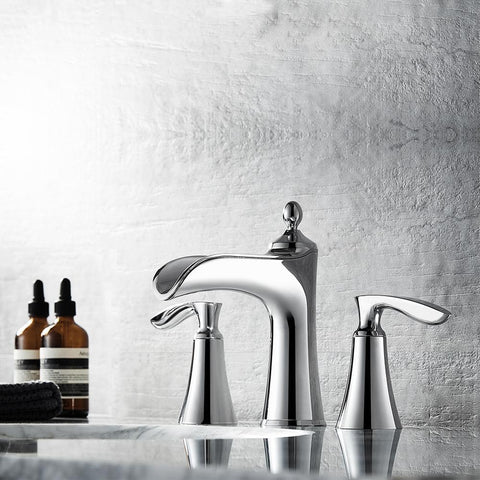 Ukiah Two Handle 8 Inch Widespread Bathroom Faucet Vinnova Faucets Polished Chrome