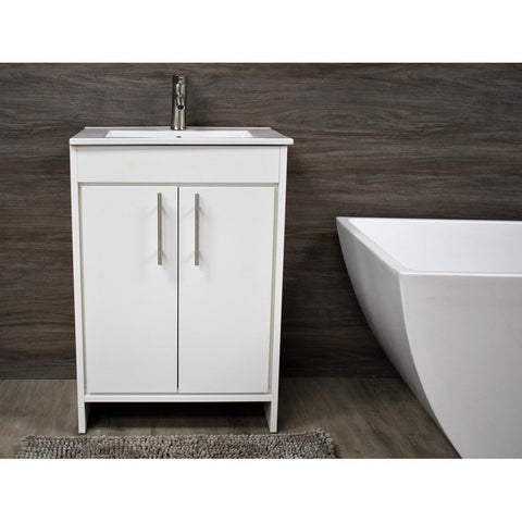 "Villa 24"" Modern Bathroom Vanity with Integrated Ceramic Top and Brushed Nickel Round Handles MTD Vanities Vanities"