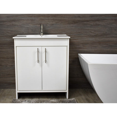 "Villa 30"" Modern Bathroom Vanity with Integrated Ceramic Top and Brushed Nickel Round Handles MTD Vanities Vanities"