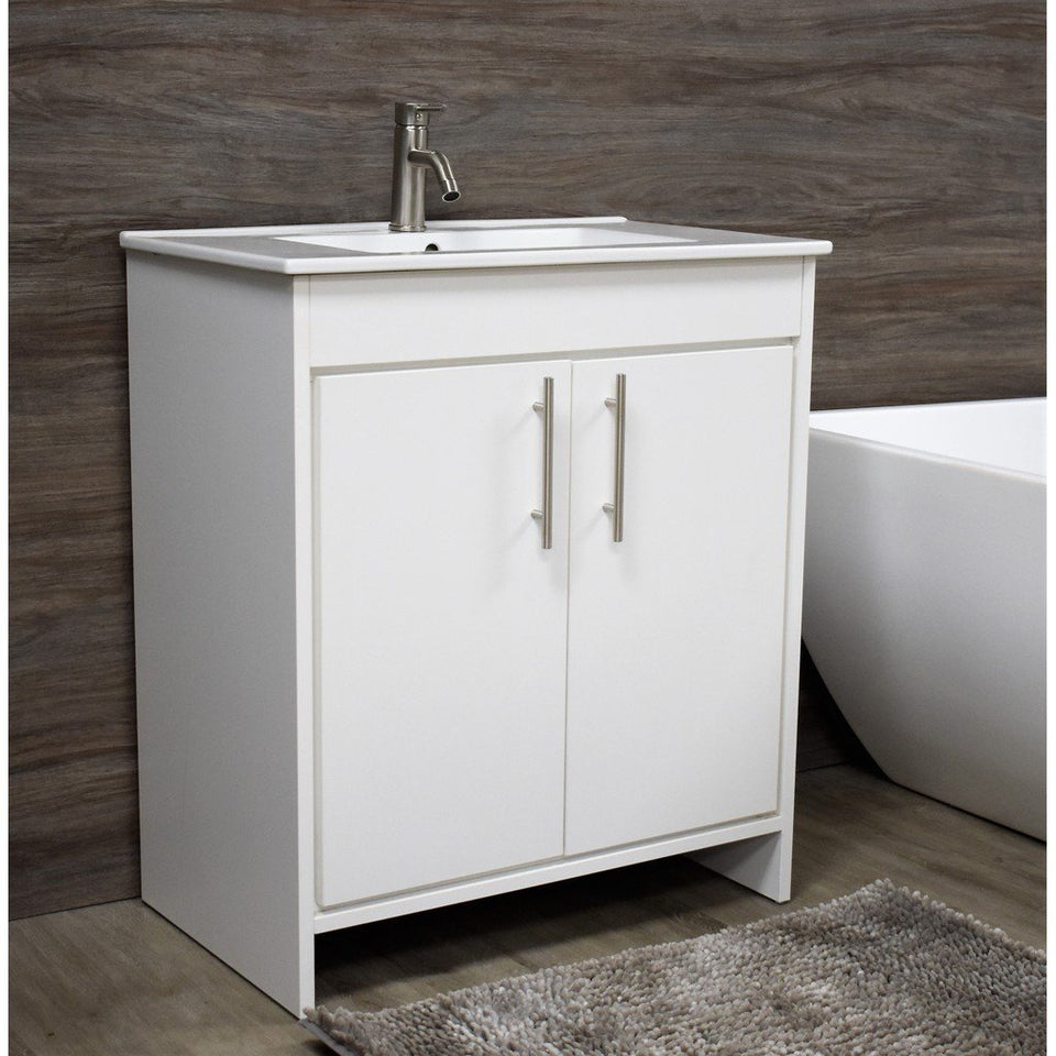 "Villa 36"" Modern Bathroom Vanity with Integrated Ceramic Top and Brushed Nickel Round Handles MTD Vanities Vanities"