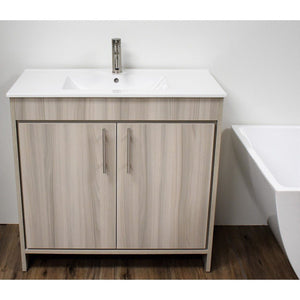 "Villa 36"" Modern Bathroom Vanity with Integrated Ceramic Top and Brushed Nickel Round Handles MTD Vanities Vanities Ash Grey"