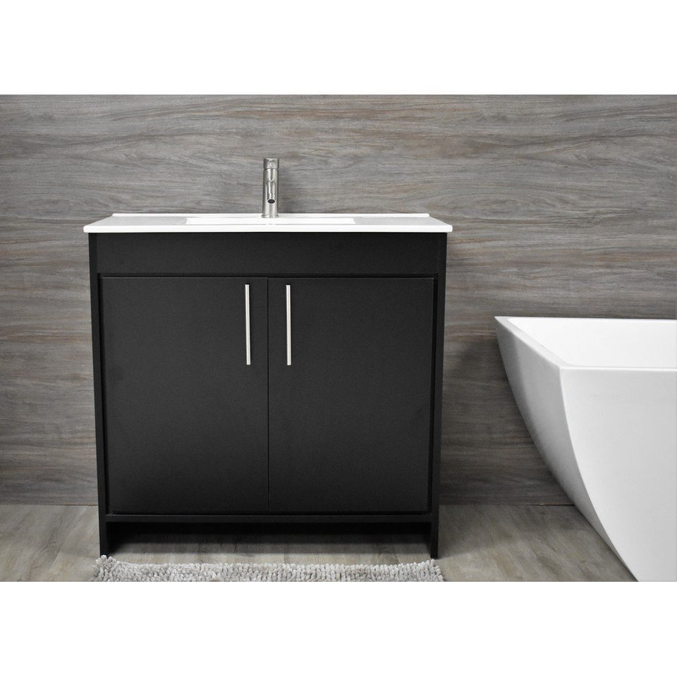 "Villa 36"" Modern Bathroom Vanity with Integrated Ceramic Top and Brushed Nickel Round Handles MTD Vanities Vanities Black"