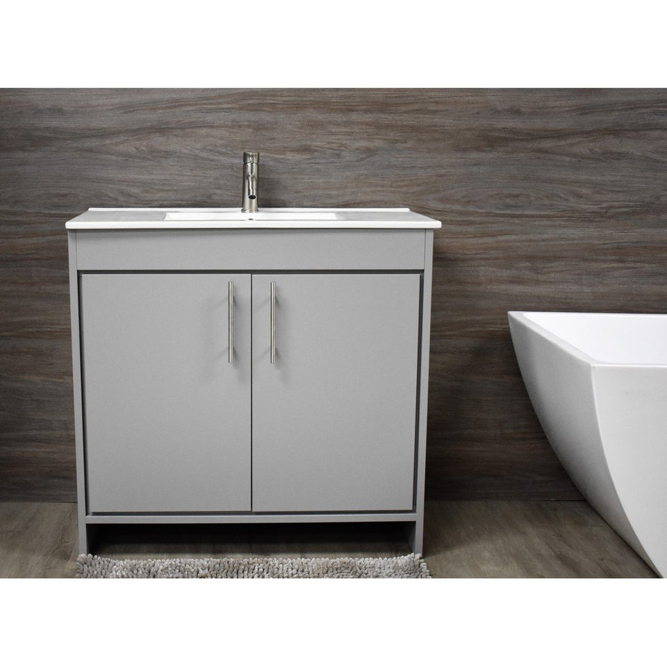 "Villa 36"" Modern Bathroom Vanity with Integrated Ceramic Top and Brushed Nickel Round Handles MTD Vanities Vanities Grey"