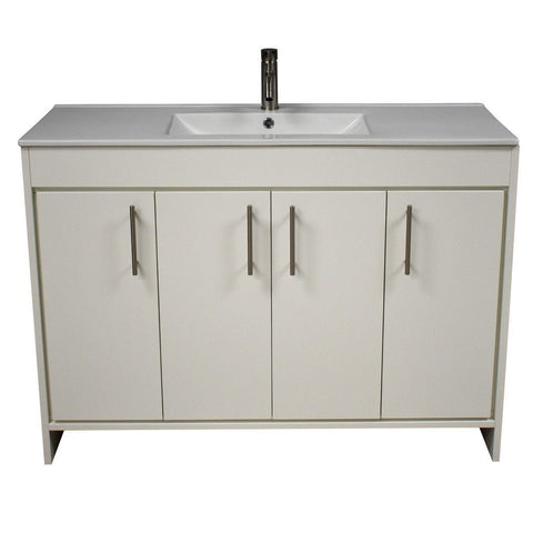 "Villa 48"" Modern Bathroom Vanity with Integrated Ceramic Top and Brushed Nickel Round Handles MTD Vanities Vanities Soft White"
