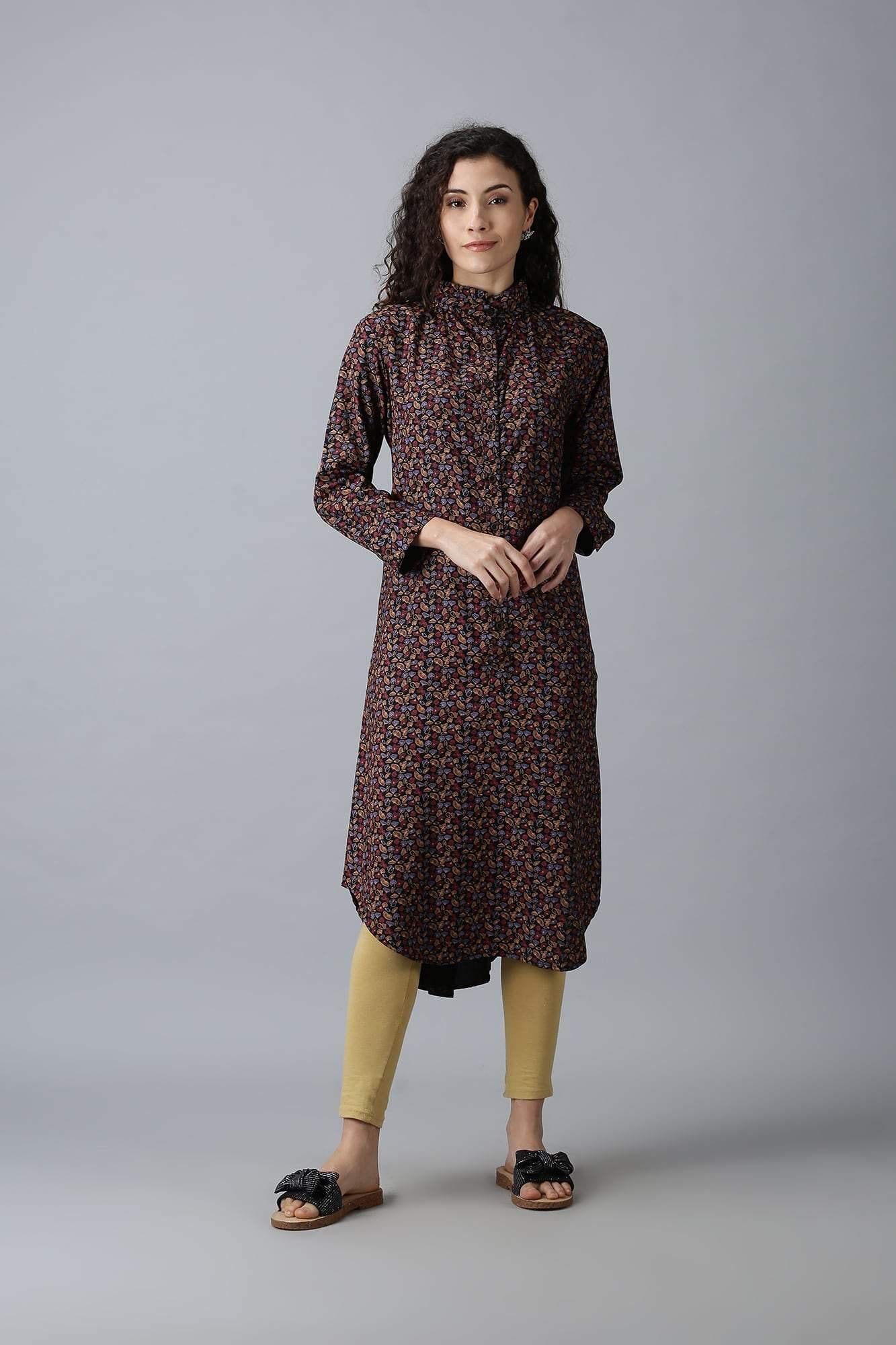 Coffee Brown patterned Kurti