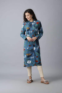 Blue Kurti with Large Flower Print