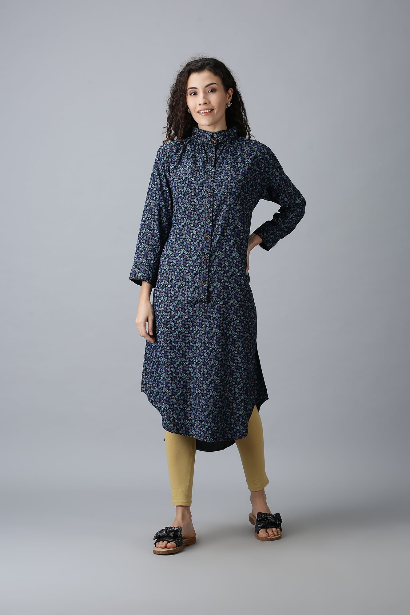 Navy Blue Patterned Kurti