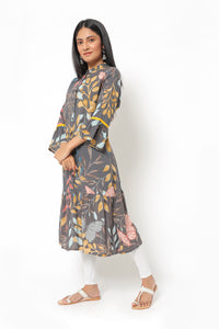Grey Kurti with Floral Pattern