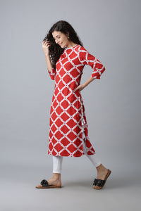 Red Kurti with Diamond Pattern